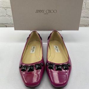 NIB Jimmy Choo Watson Magenta Pink Patent Flat